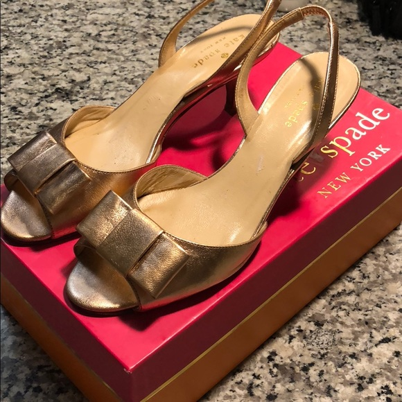 3dd6f2ff1f5 kate spade Shoes - Kate Spade Emelia Sling Rose gold kitten heel